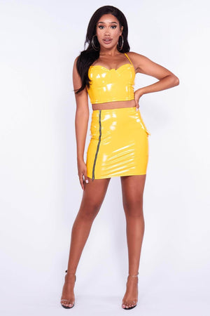 Yellow Vinyl Zip Up Mini Skirt