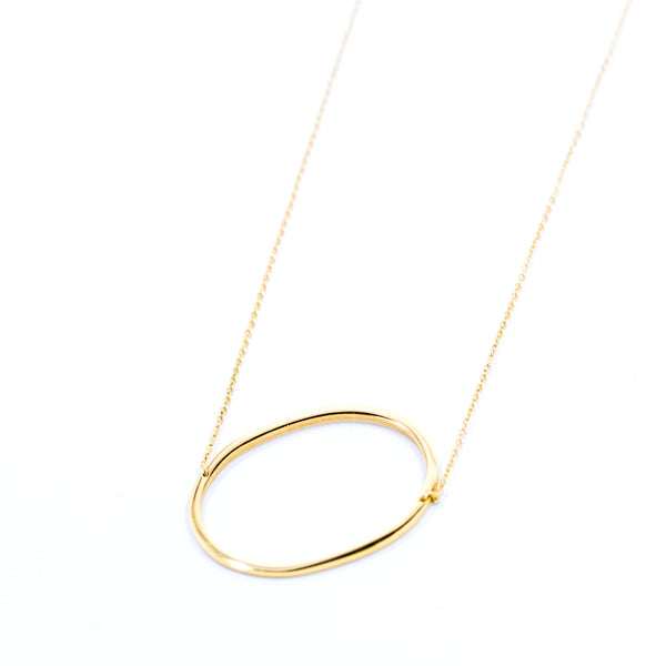 Jonsey Wood Initial Necklace - Gold