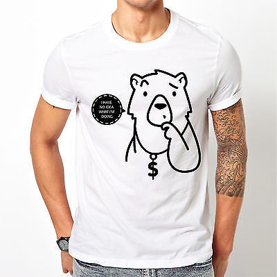White Cute Geeky Bear T Shirt Size S M L XL XXL Confused Funny Hipster Gift New