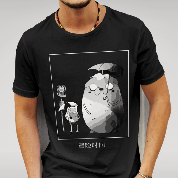 Adventure Time VS Totoro T Shirt Size S M L XL XXL Anime Gift New