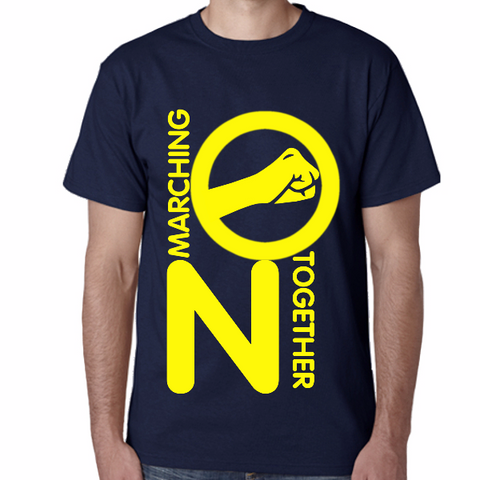 Navy Blue T Shirt Salute S - 5XL Marching On Together - yellow print