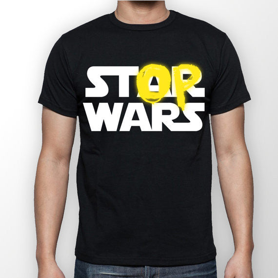 Mens Black 'Stop Wars' T-shirt