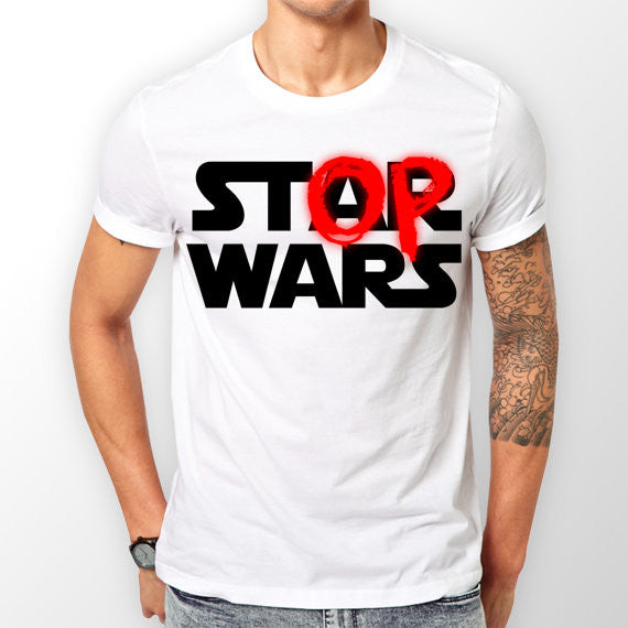Mens White 'Stop Wars' T-shirt