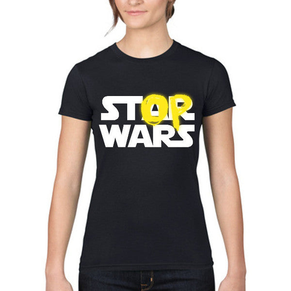 Womens Black 'Stop Wars' T-shirt