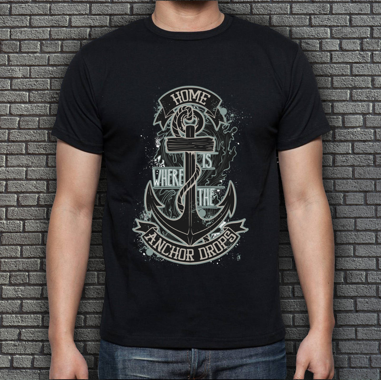 Men's Black Home is where the anchor drops T-shirt