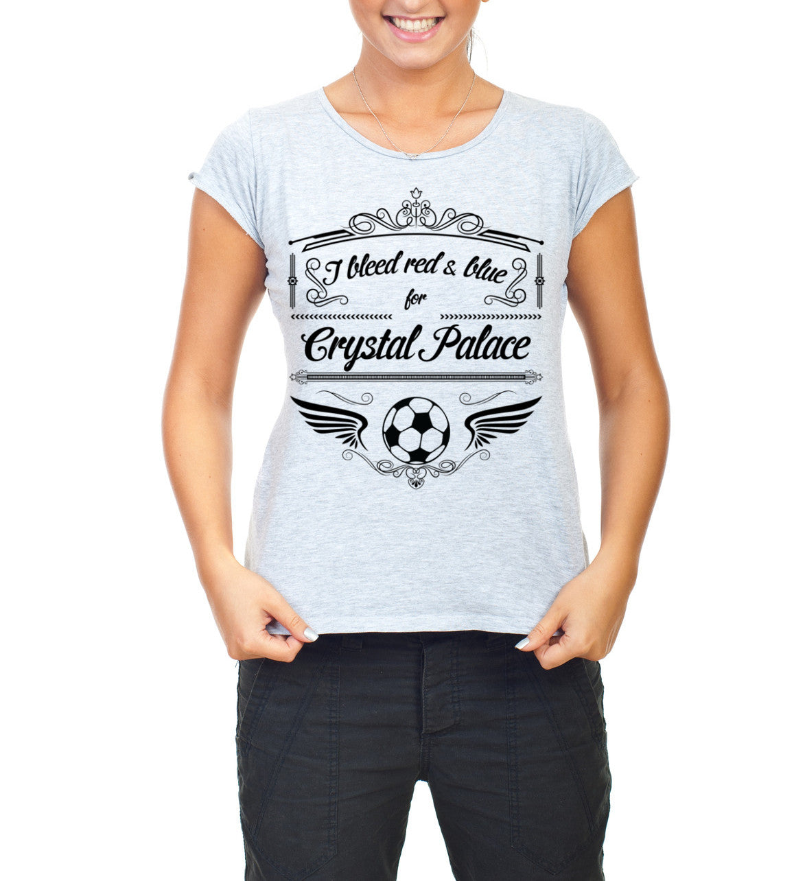 Grey Female Crystal Palace T Shirt S M L XL XXL I Bleed Red & Blue