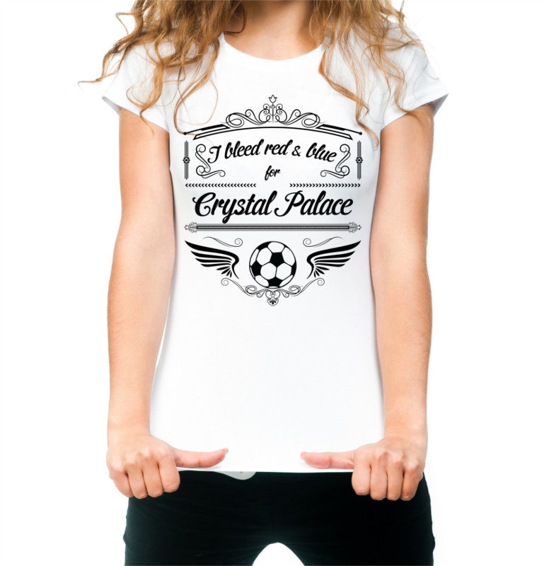 White Female Crystal Palace T Shirt S M L XL XXL I Bleed Red & Blue