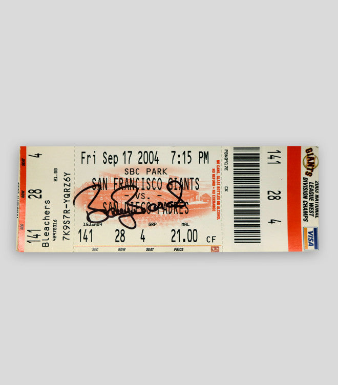 Bonds Hand Signed 700 HR Game Ticket - Signed