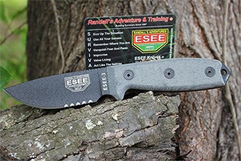 ESEE 3 Serrated Edge Black Blades with Micarta Handles and Black Sheath 3S-B