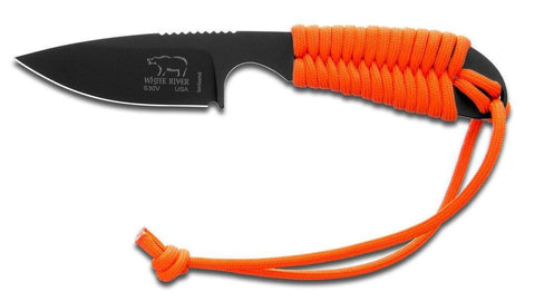 White River Knife & Tool Backpacker Hunting Knife Orange Paracord Handle Black Ionbond Blade Coating WRBP-OR-CBI
