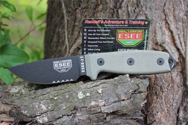 ESEE 3MIL-S Military Survival Knife Black Sheath 3MIL-S-B