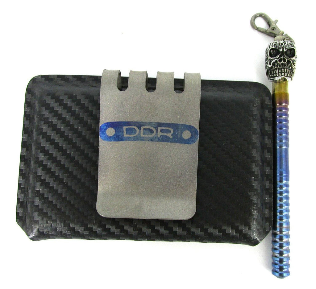 DDR Darrel Ralph Custom Combat Wallet W/Skull Kubaton Anodized Titanium Tactical Pen Rainbow*