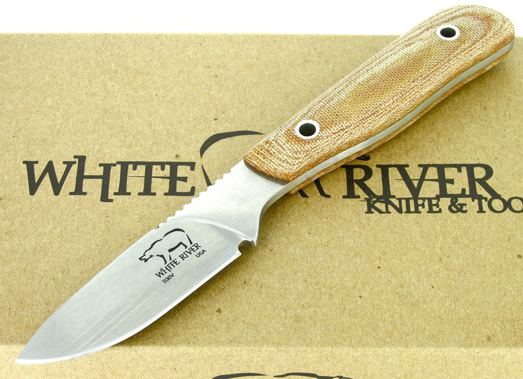 White River Knife & Tool Scout Hunting Knife Natural Micarta Handle WRSCT-NA