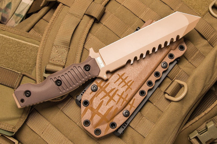 Hardcore Hardware Australia BFK01-Gll Generation 2 Tactical Survival Knife Desert G-10 Handle Desert Teflon Blade