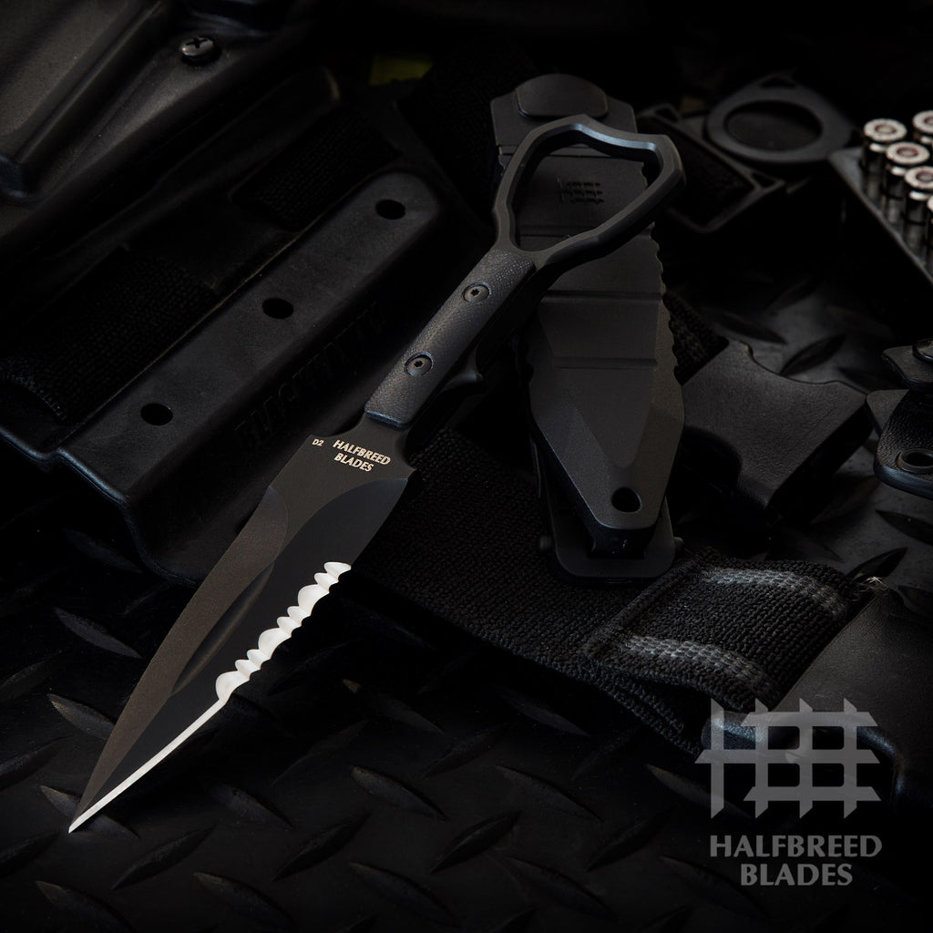 Halfbreed Blades CCK-01 Compact Clearance Knife w/ Trainer SOCP Fixed Blade Black