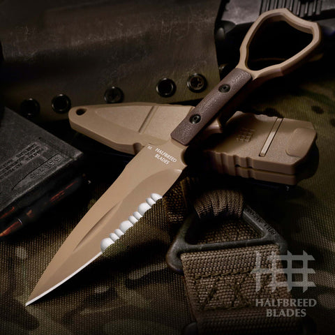 Halfbreed Blades CCK-01 Compact Clearance Knife w/ Trainer SOCP Fixed Blade DE Tan