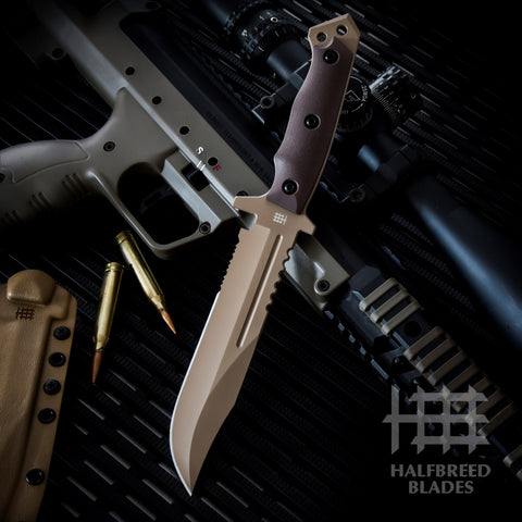 Halfbreed Blades LIK-01 Large Infantry Fixed Blade Knife Dark Earth Tan LIK-01-DE