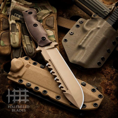 Halfbreed Blades LSK-01 Large Survival Knife Fixed Blade Spear Point Dark Earth Tan
