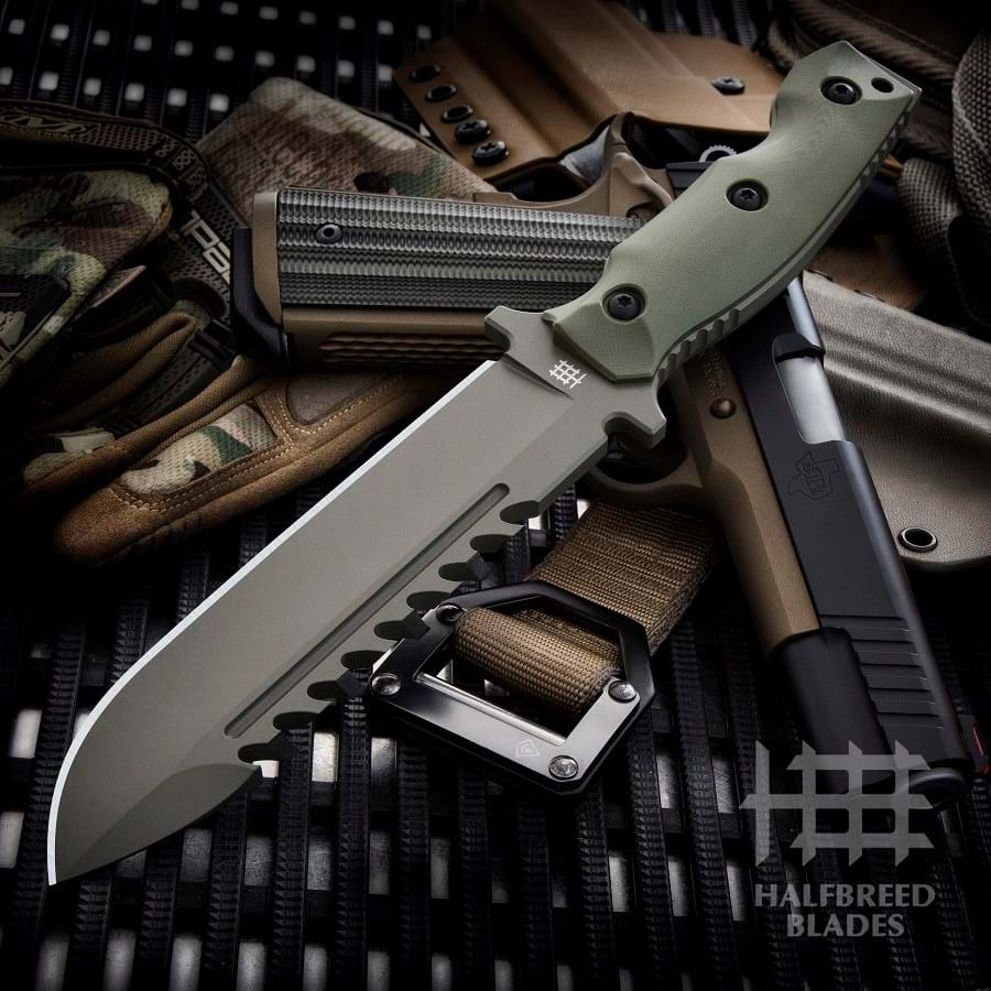 Halfbreed Blades LSK-01 Large Survival Knife Fixed Blade Spear Point Ranger Green