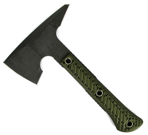 RMJ Tactical Mini Jenny Tomahawk Dirty Olive 3D G-10 Handle Full Tang