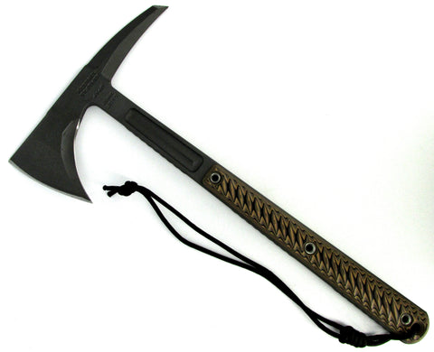 RMJ Tactical Kestrel Feather Tomahawk Hyena Brown 3D G-10 Handle Full Tang
