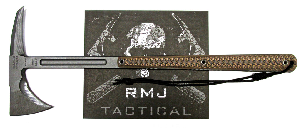 RMJ Tactical Eagle Talon Tomahawk Hyena Brown 3D G-10 Handle Full Tang