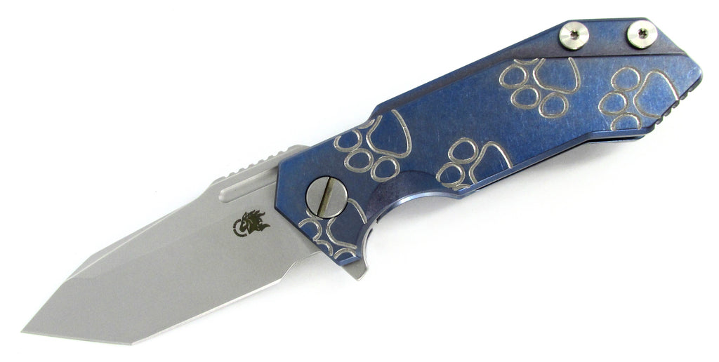 Hinderer Knives HalfTrack Flipper Folding Knife Blue Ti w/Engraved Dog Paws