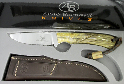 Arno Bernard Knives Badger Fixed Blade Knife Giraffe Bone Handle 7302