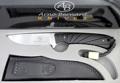 Arno Bernard Knives Badger Fixed Blade Knife Black G-10 Handle 7305