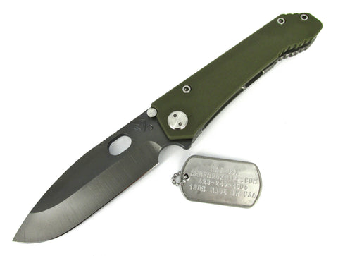 Medford Knife & Tool 187 DP Drop Point Tactical Folder Knife OD G-10/Tumbled Ti Handles Grey PVD Blade