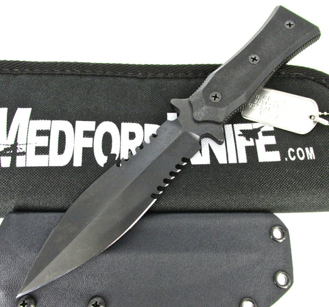 Medford Boa P Fighting Knife Black G-10 Handles