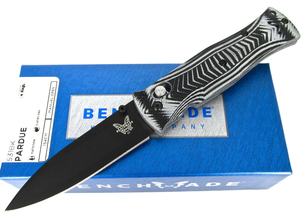 Benchmade Pardue 531BK AXIS Folding Knife Textured G-10 Handles Black Blade
