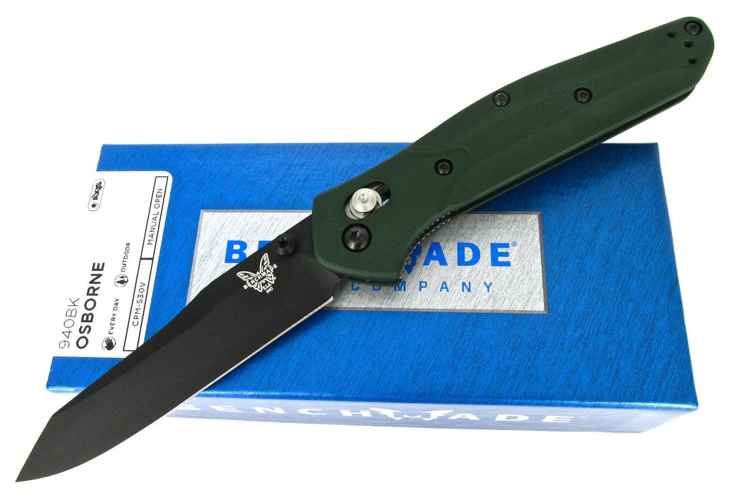 Benchmade Osborne 940BK AXIS Lock Green Handles Folder Knife