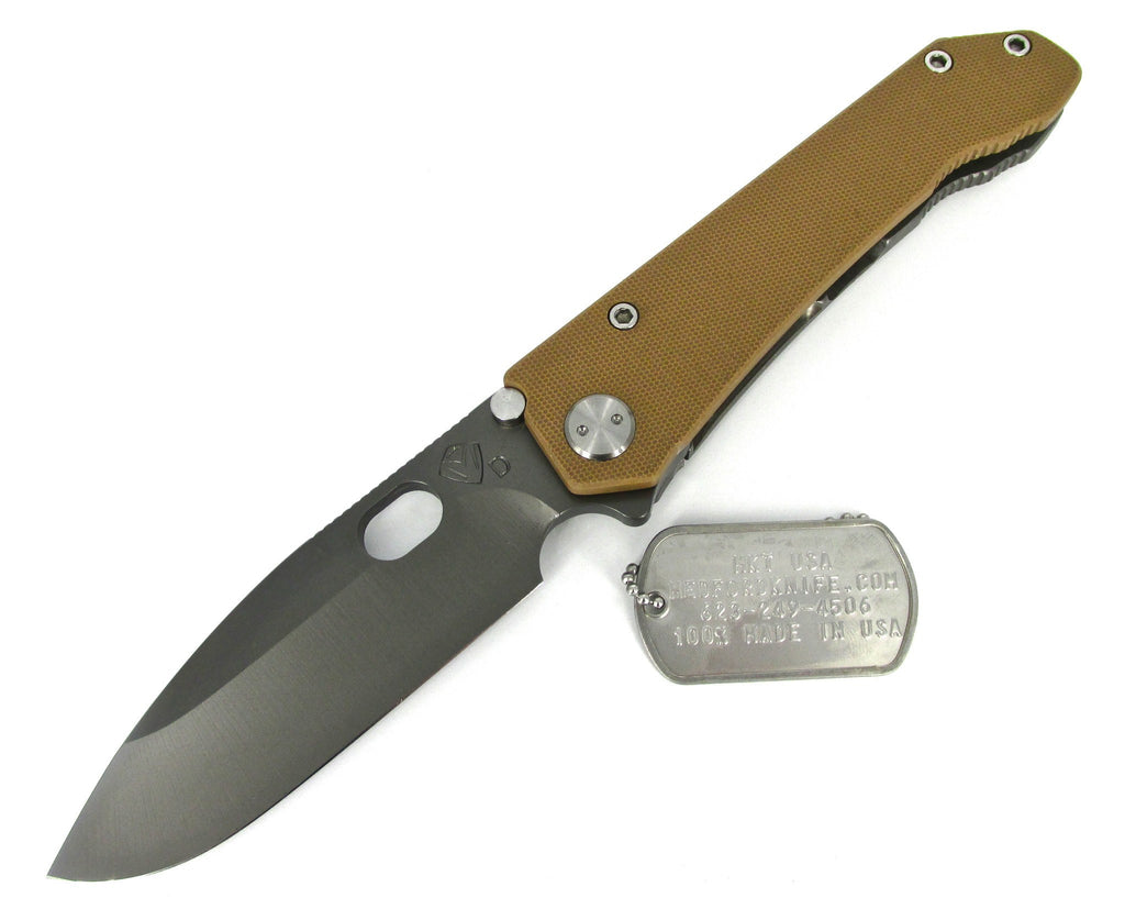 Medford Knife & Tool 187 DP Drop Point Folder Knife Coyote G-10/Tumbled Titanium