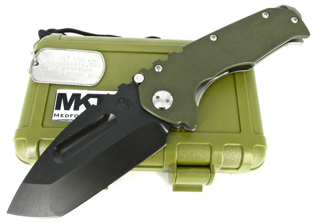 Medford Knife & Tool Praetorian G/T Tactical Tanto Point Folding Knife OD G10/ Tumbled Ti Handles