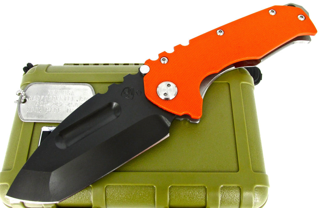 Medford Knife & Tool Praetorian G/T Tactical Tanto Point Folder Knife Orange G-10
