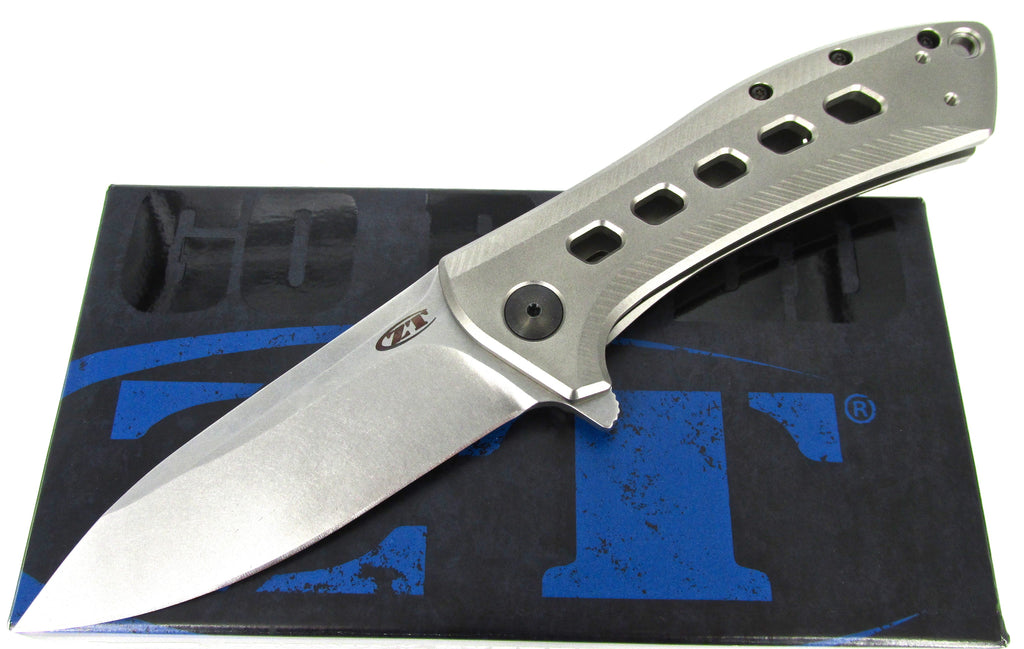 Zero Tolerance 0801TI Flipper Folding Knife Stone Washed Blade Titanium Handle