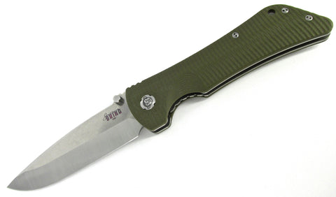 Southern Grind Bad Monkey Folding Knife Plain Edge Drop Point OD Green G10 Satin