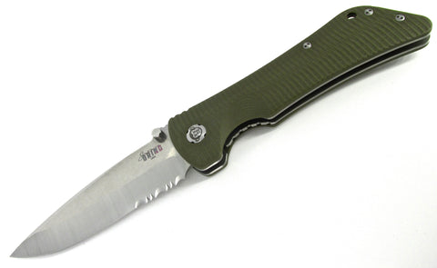 Southern Grind Bad Monkey Folding Knife OD Green G-10 Handles Satin Serrated Drop Point