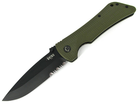 Southern Grind Bad Monkey Folding Knife OD Green G-10 Black Serrated Drop Point
