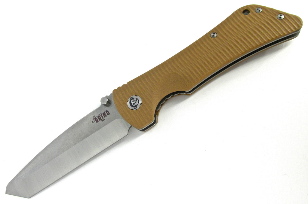 Southern Grind Bad Monkey Folding Knife Plain Edge Tanto Tan G10 Tumbled Satin
