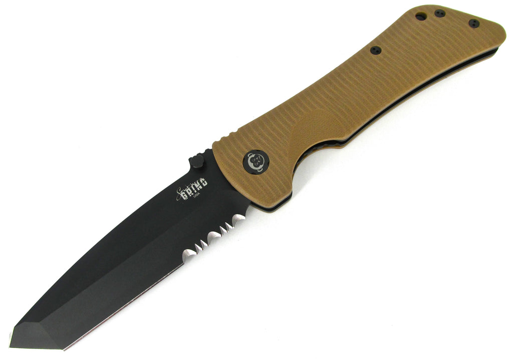 Southern Grind Bad Monkey Folding Knife Combo Edge Tanto Tan G10 Black PVD