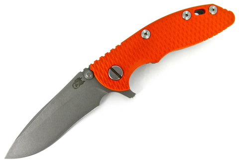 "Hinderer Knives XM-18 3.0"" Recurve Flipper Knife Orange G-10 / Titanium New"