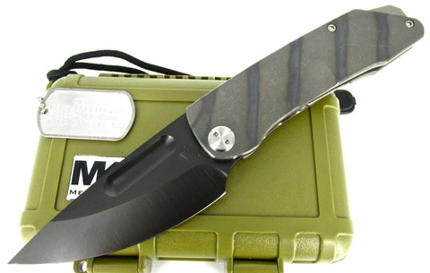 Medford Knife & Tool General Tactical Folder Knife Flamed Titanium Handles PVD Blade MK24DP-03FL