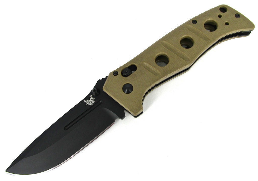 Benchmade Adamas Folding Knife Sibert Design AXIS Sand Handle Black Blade Cordura Sheath 275BKSN
