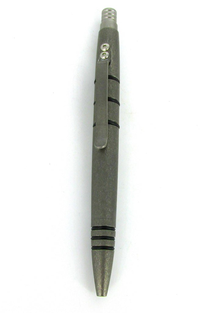 Tuff-Writer Mini Click Series Tactical Pen Tumbled Titanium