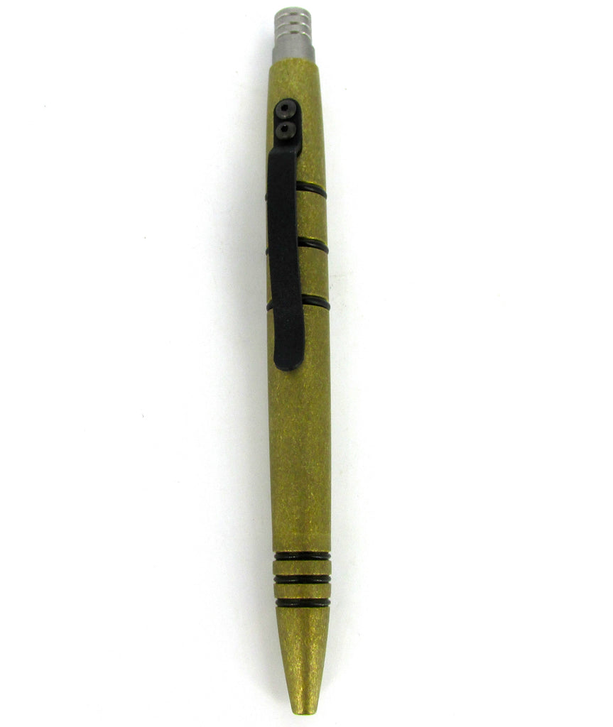 Tuff-Writer Mini Click Series Tactical Pen Tumbled Brass