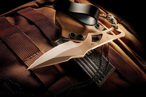 Spartan Blades Enyo Dark Earth Fixed Blade Fighting Neck Knife Kydex Sheath