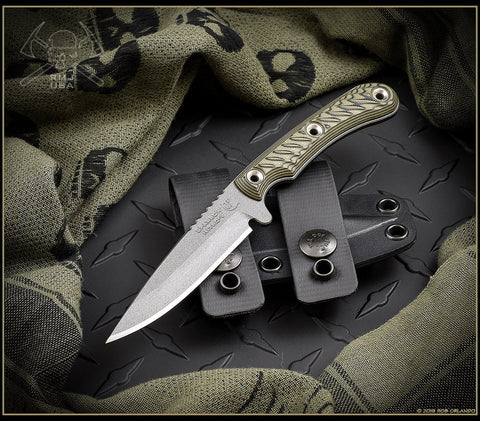 RMJ Tactical Sparrow Fixed Blade Knife Dirty Olive 3D G-10 Handle Kydex Sheath