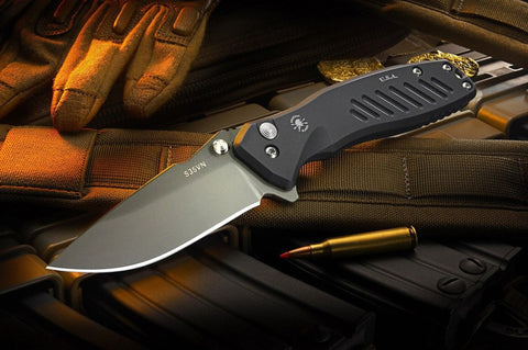 Spartan Blades Blacked Out Pallas Folding Flipper Knife Button Lock Black SF3BK
